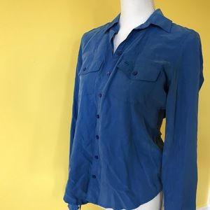 NWT medium blue button up top blouse
